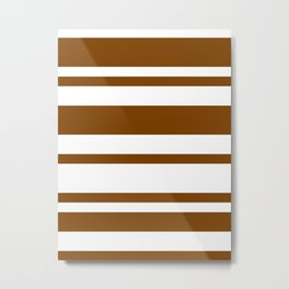 Mixed Horizontal Stripes - White and Chocolate Brown Metal Print