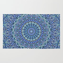 Blue Garden of Life Mandala Rug