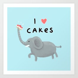Elephant Loves Cakes Art Print