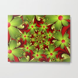 Fantasy Flowers Green And Red, Fractals Art Metal Print