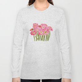 Pink Gerbera Daisy watercolor Long Sleeve T-shirt