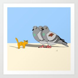 Cat amoung the Pigeons Art Print