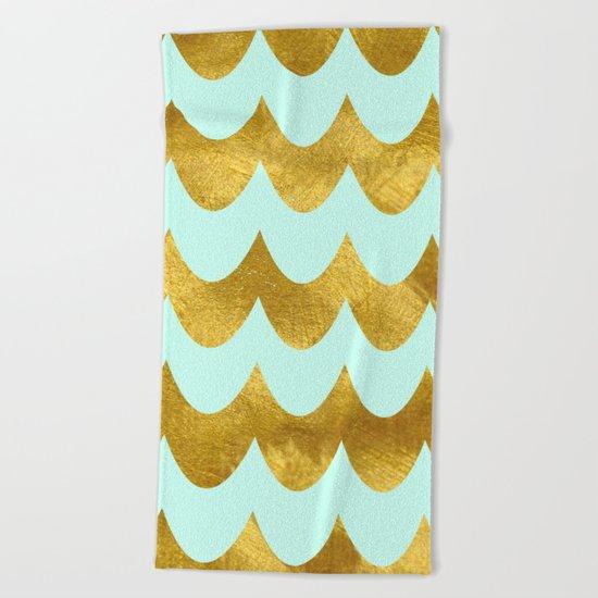 Mint Gold Foil 04 Beach Towel