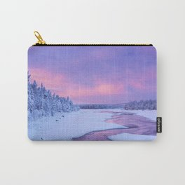 Sunrise over river rapids in a winter landscape, Finnish Lapland Carry-All Pouch