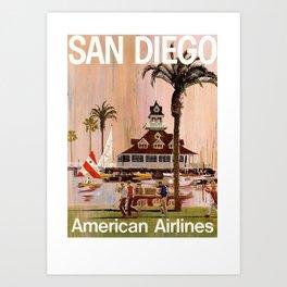 Vintage San Diego Travel Art Print