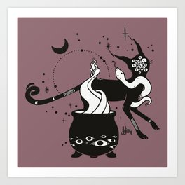 Black Cat Witch With Cauldron, Gothic Art Art Print