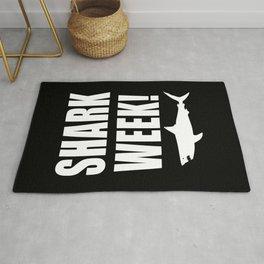 Shark Week, white text on black Rug