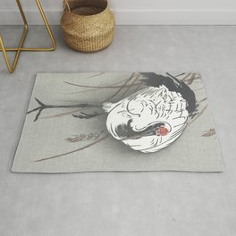 Crane in the Grass - Vintage Japanese Woodblock Print Art Rug