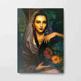 Jesus Helguera Painting of a Calendar Girl with Dark Shawl Metal Print