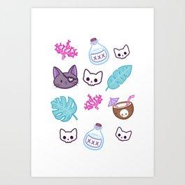 Pirate Cat // White Art Print