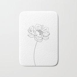 Single flower line drawing - Hazel Bath Mat