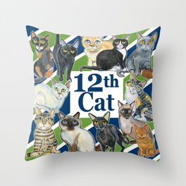 12th Cat Throw Pillow