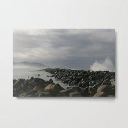 Storm at the breakwater Metal Print