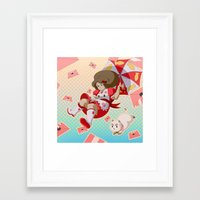 bee and puppycat Framed Art Prints featuring Bee and Puppycat by Artist Meli