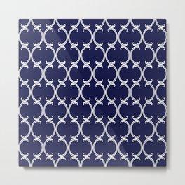 Moroccan Lattice in White on Navy Blue Metal Print