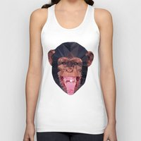 low poly Tank Tops featuring Chimpanzee low poly by Angel Decuir