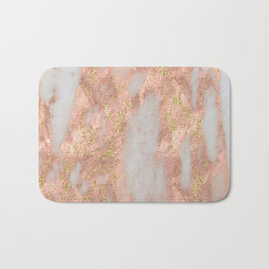 Rose Gold Marble with Yellow Gold Glitter Bath Mat