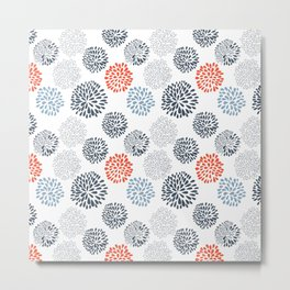 Doodle flowers in red and blue Metal Print