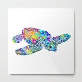 Colorful Sea Turtle Watercolor Art Metal Print