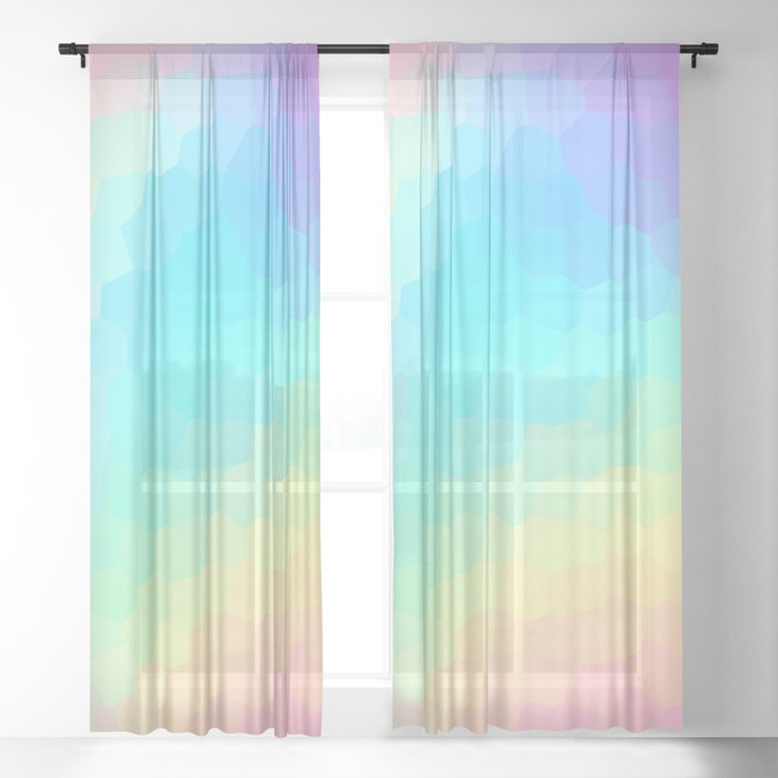 Pastel Rainbow Gradient With Stained Glass Effect Sheer Curtain