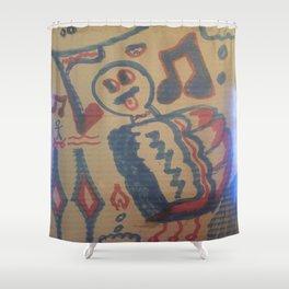 Blue Seventeen on Cardboard 88 Shower Curtain