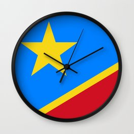 National flag of the Democratic Republic of the Congo, Authentic version (to scale and color) Wall Clock