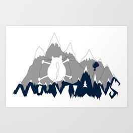 Mountains Cats Art Print