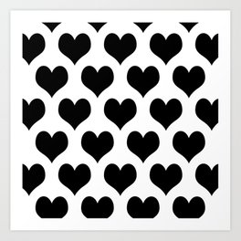 White Black Heart Minimalist Art Print
