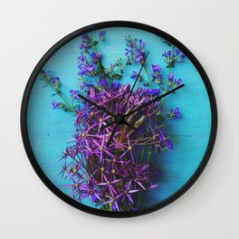 She Found Stray Flowers and Brought Them Home Wall Clock