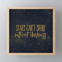 Stars- Darkness - sparkling gold glitter effect night typography Framed Mini Art Print