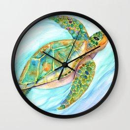 Swimming, Smiling Sea Turtle Wall Clock