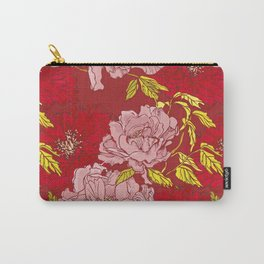 Peonies on Red Carry-All Pouch