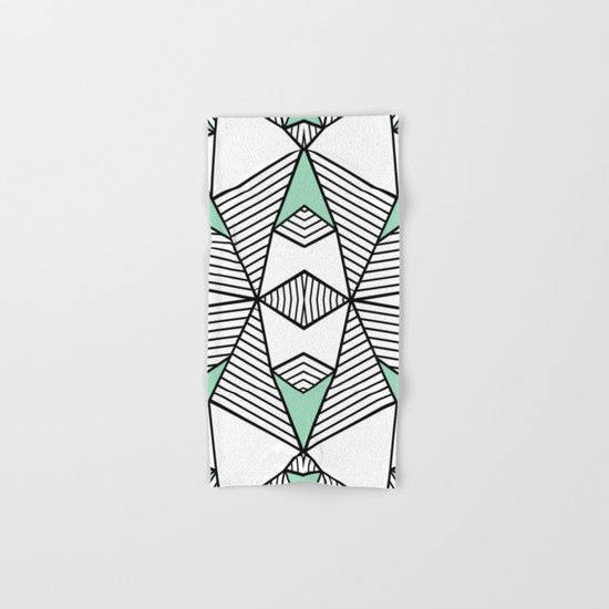 Triangle Tribal Mint Hand & Bath Towel