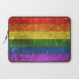 Vintage Aged and Scratched Rainbow Gay Pride Flag Laptop Sleeve