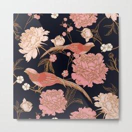 Two Pretty Birds | Chinese Oriental Design | Pink Floral Wildlife |  Metal Print