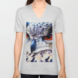 Owl Bubo, Bird Unisex V-Neck
