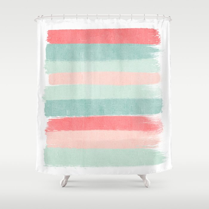 Stripes Painted Coral Minimal Mint Teal Bright Southern Charleston Decor Colors Shower Curtain
