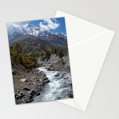 River and Mountains en route to Manang Stationery Cards