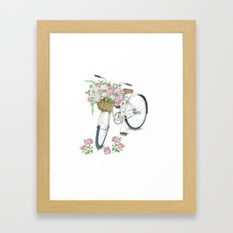 Vintage White Bicycle with English Roses Framed Art Print