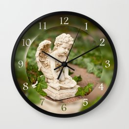 Small angel statue kneel Wall Clock