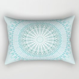 Turquoise White Mandala Rectangular Pillow