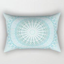 Turquoise White Mandala Rectangular Pillow