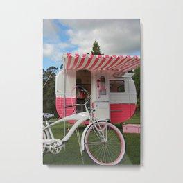 Retro Caravan vintage camper Pink Metal Print