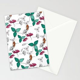 Retro .Floral pattern Rustic Stationery Cards