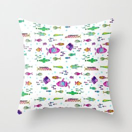 Catch all the fish! Tropical and colorful fishes swim in shoals Throw Pillow