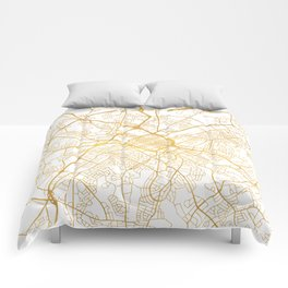 CHARLOTTE NORTH CAROLINA CITY STREET MAP ART Comforters