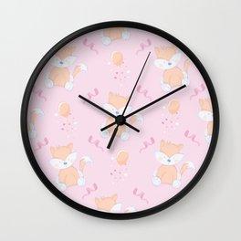 Happy Birthday Orange Fox Pink Background Pattern Wall Clock