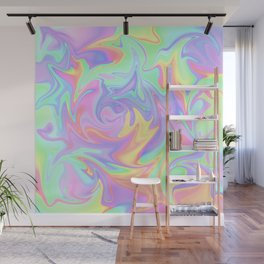 Marbled Pastel Rainbow Abstract Design Wall Mural