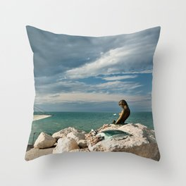 The pier in Senigallia at sunset Throw Pillow
