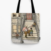 banjo Tote Bags featuring Banjo Man by Studio Castillo